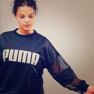 Puma mesh sleeve sweatshirt